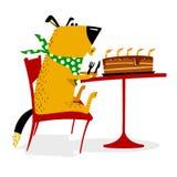 Feliz aniversario para o cão O cão alegre senta-se em uma tabela na frente da ilustração do vetor