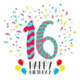 Feliz aniversario para o cartão do convite do partido de 16 anos ilustração royalty free