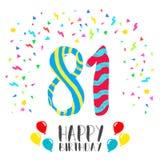 Feliz aniversario para o cartão do convite do partido de 81 anos Imagem de Stock Royalty Free