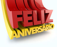 Feliz Aniversario Portuguese Happy Birthday Image stock