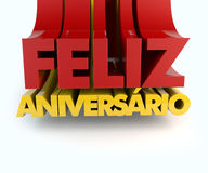Feliz Aniversario Portuguese Happy Birthday Illustration de Vecteur