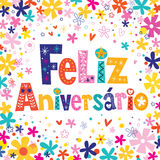 Feliz Aniversario Portuguese Happy Birthday card Stock Image
