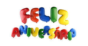 Feliz Aniversario Portuguese Happy Birthday - impulso della fonte fotografia stock libera da diritti