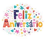 Feliz Aniversario Portuguese Happy Birthday-kaart Stock Afbeeldingen