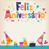 Feliz Aniversario Portuguese Happy Birthday-Karte Stockfotos