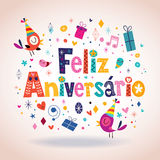 Feliz Aniversario Portuguese Happy Birthday-Karte Stockbild