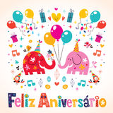 Feliz Aniversario Portuguese Happy Birthday kort Arkivbilder