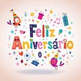 Feliz Aniversario Portuguese Happy Birthday kort Fotografering för Bildbyråer