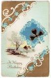 Feliz aniversario Postacard do vintage Fotografia de Stock Royalty Free