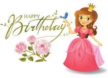 Feliz aniversario, princesa, cartão ilustração royalty free
