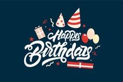 Feliz aniversario Rotulando a ilustração com balões e presentes Projeto tirado m?o da c?pia do t-shirt do convite Moderno escrito ilustração stock