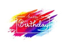 Feliz aniversario, tinta colorida do arco-íris da escova do grunge da aquarela que espirra o conceito, decoração do fundo do sumá ilustração royalty free
