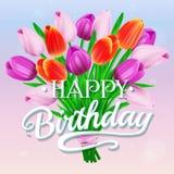 Feliz aniversario Vector a ilustração com o ramalhete de tulipas e da rotulação coloridas Fotografia de Stock