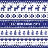 Feliz Ano Novo 2014 - protuguese guten Rutsch ins Neue Jahr-Muster Stockbild
