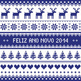 Feliz Ano Novo 2014 - protuguese happy new year pattern. Navy blue background for celebrating New Years - nordic kntting style Stock Image