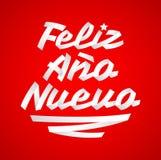 Feliz Ano Nuevo, Gelukkige Nieuwjaar Spaanse tekst, het Vector Van letters voorzien gemaakt met Linten stock illustratie