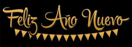 Feliz Ano Nuevo, Gelukkige Nieuwjaar Spaanse tekst, Vectorvakantie het Van letters voorzien ontwerp royalty-vrije illustratie