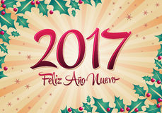 2017 Feliz Ano-nuevo - 2017-guten Rutsch ins Neue Jahr-spanische Textvektorbeschriftung mit Feiertagshintergrund Stockbild