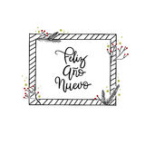 Feliz Ano Nuevo Hand Lettering Greeting Card Calligraphie moderne Photographie stock