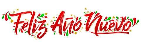 Feliz Ano Nuevo, Happy New Year spanish text holiday lettering stock illustration