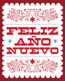 Feliz Ano Nuevo, Happy New Year spanish text, Vector holiday card poster design stock illustration