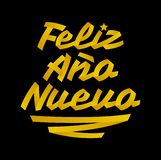 Feliz Ano Nuevo, Happy New Year spanish text, Vector Lettering made with Ribbons vector illustration