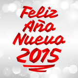 Feliz Ano nuevo 2015 - happy new year 2015 spanish text. Vector ribbon lettering Royalty Free Stock Photo