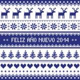 Feliz Ano Nuevo 2014 - hiszpański szczęśliwy roku wzór Obrazy Royalty Free