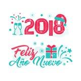 Feliz Ano Nuevo - lengua española de la Feliz Año Nuevo Fotos de archivo libres de regalías