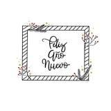 Feliz Ano Nuevo ręki literowania kartka z pozdrowieniami Nowożytna kaligrafia royalty ilustracja