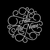 Feliz Ano Nuevo Spanish Happy New Year flourish calligraphy lettering. Of swash line typography for greeting card design. Vector festive ornamental New Year stock illustration