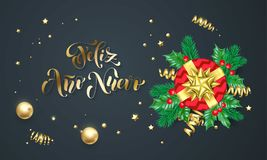 Feliz Ano Nuevo Spanish Happy New Year golden decoration and gold font calligraphy greeting card design. Vector Christmas gift box. Wreath decoration of Xmas Stock Photography