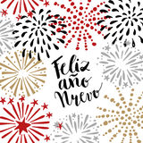 Feliz ano nuevo, Spanish Happy New Year greeting card with handwritten text and hand drawn fireworks, stars. Vector illustration Royalty Free Stock Photo