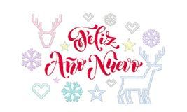 Feliz Ano Nuevo Spanish Happy New Year-het borduurwerkdecoratie van de kalligrafiedoopvont voor de kaartontwerp van de vakantiegr royalty-vrije illustratie