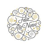 Feliz Ano Nuevo Spanish Happy New Year Navidad calligraphy lettering and golden snowflake pattern on white background for greeting. Card design. Vector golden Stock Photography