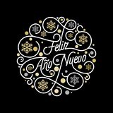 Feliz Ano Nuevo Spanish Happy New Year Navidad calligraphy lettering and golden snowflake pattern on white background for greeting. Card design. Vector golden Royalty Free Stock Image