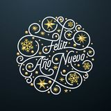Feliz Ano Nuevo Spanish Happy New Year Navidad calligraphy lettering, golden snowflake star pattern decoration on white background. For greeting card. Vector Royalty Free Stock Photos