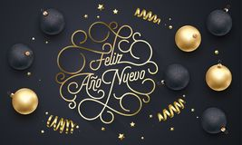 Feliz Ano Nuevo Spanish Happy New Year Navidad flourish golden calligraphy lettering of swash gold greeting card design. Vector go royalty free illustration
