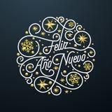Feliz Ano Nuevo Spanish Happy New Year Navidad kalligrafibokstäver, guld- garnering för snöflingastjärnamodell på vit bakgrund vektor illustrationer