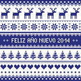 Feliz Ano Nuevo 2014 - spanish happy year pattern. Navy blue background for celebrating New Years - nordic kntting style Royalty Free Stock Images