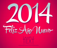 Feliz Ano Nuevo - spanish text - Happy New Year 20. Feliz Ano Nuevo - spanish text - Happy New Year lettering 2014 - easy edit Stock Photography