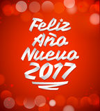 Feliz Ano nuevo 2017 - Spanish translation: happy new year 2017. Vector made with ribbons - typographic design - eps available Stock Photo