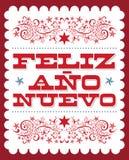 Feliz Ano Nuevo spansk text för lyckligt nytt år, design för affisch för vektorferiekort stock illustrationer