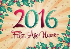 2016 Feliz Ano Nuevo - texto del español de la Feliz Año Nuevo stock de ilustración