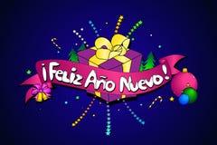 Feliz Ano Nuevo Vector creatieve achtergrond Spaanse versie royalty-vrije illustratie