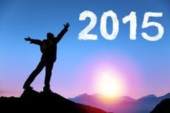 Feliz Año Nuevo 2015 hombre joven que se coloca en el top de la montaña Foto de archivo libre de regalías
