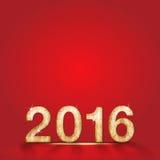 Feliz Año Nuevo y número de madera 2016 en el fondo rojo del estudio, pasto Foto de archivo libre de regalías