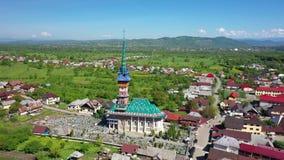 Feliz cementerio de Maramures Rumania Tiroteo del aire almacen de video