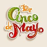 Feliz Cinco de Mayo-kaart met heldere overladen brieven