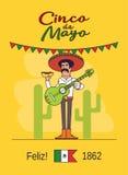 Feliz Cinco de Mayo. Mexican fast food and guitar Royalty Free Stock Photo